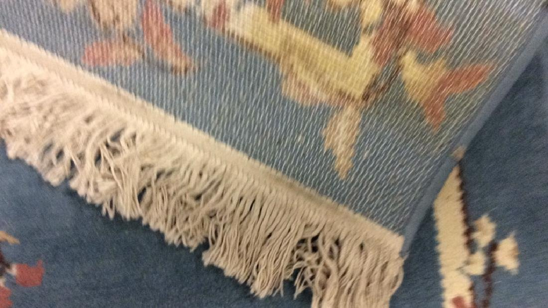 Lot 3 Floral Detail Wool Rugs W Fringes - 6