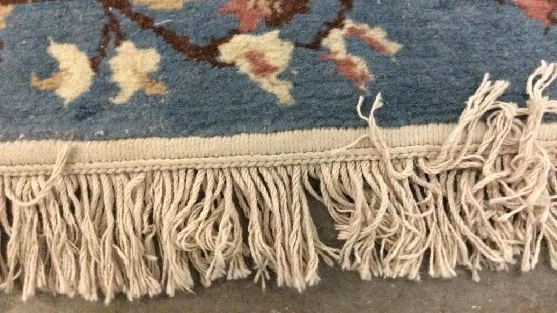 Lot 3 Floral Detail Wool Rugs W Fringes - 8