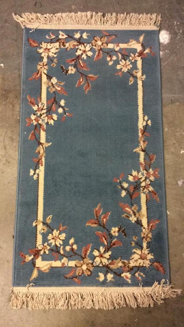 Lot 3 Floral Detail Wool Rugs W Fringes - 9