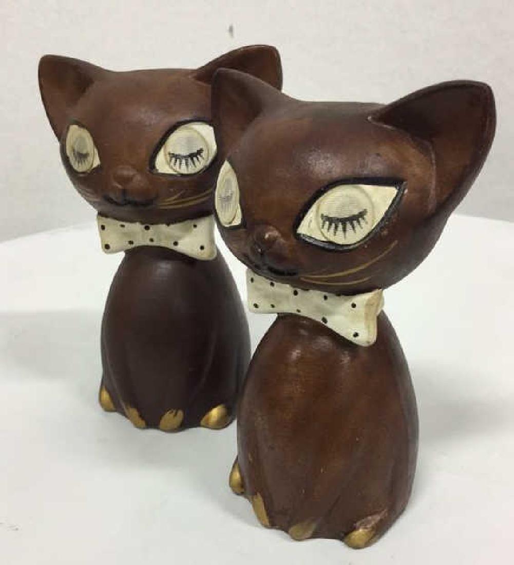 Pair Ceramic Cat Figural Salt and Pepper Shakers