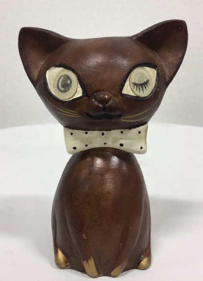 Pair Ceramic Cat Figural Salt and Pepper Shakers - 2