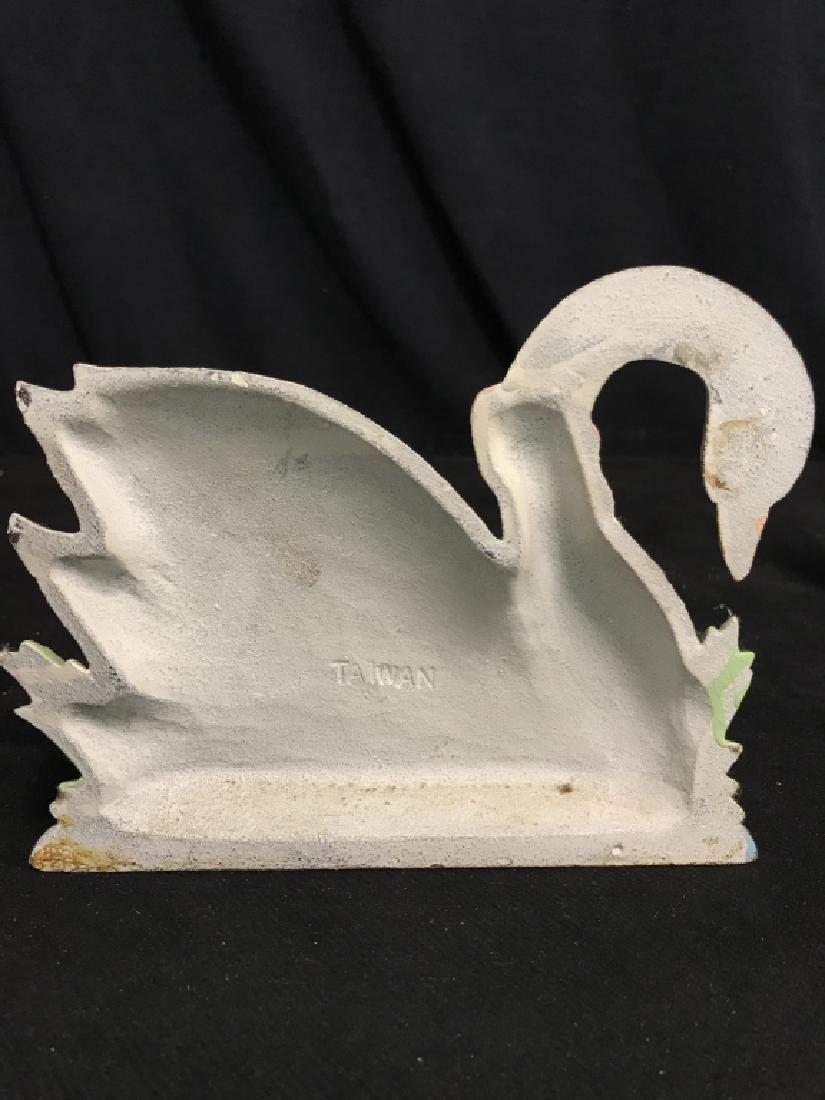 Painted Cast Iron Swan Doorstop - 3