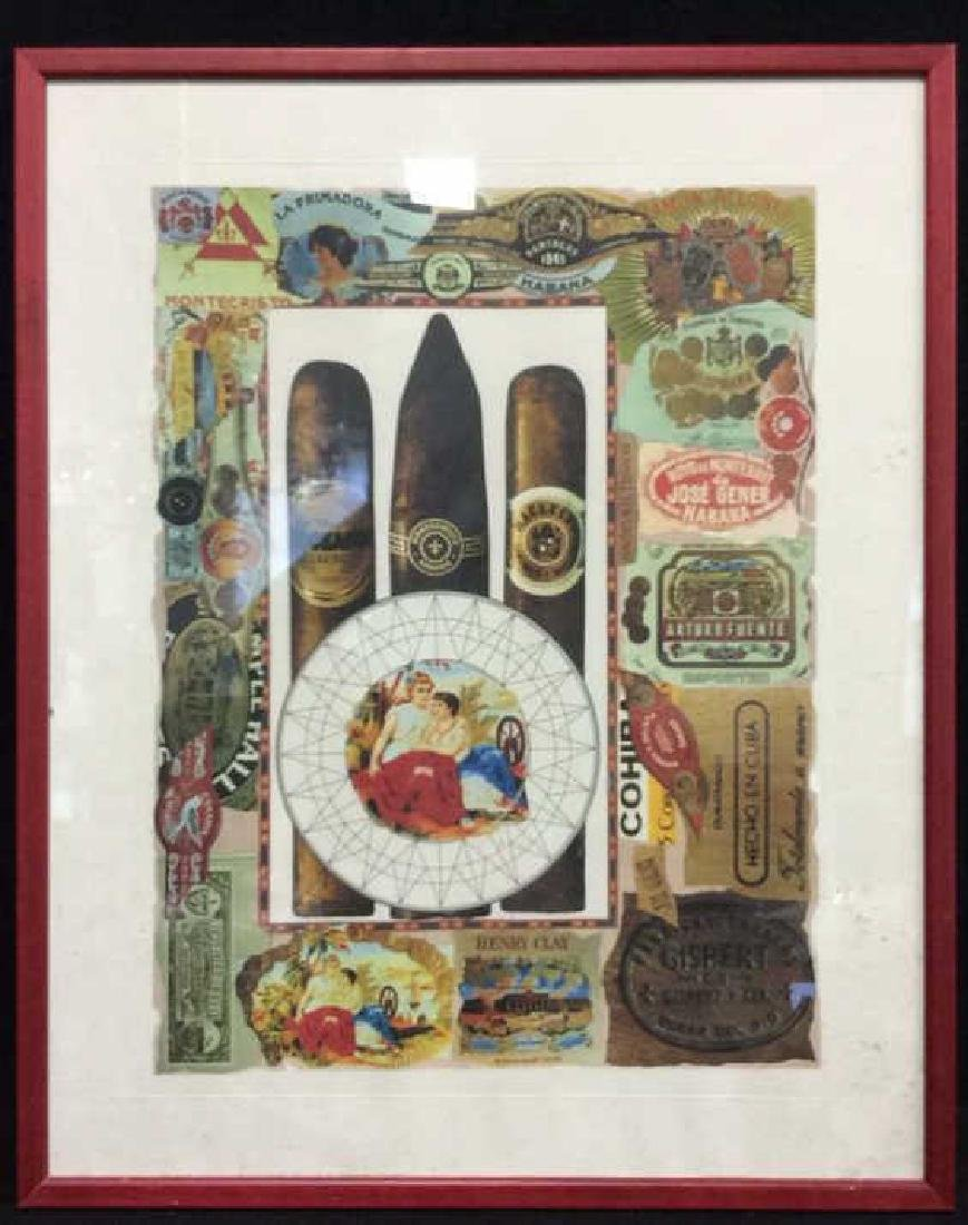 Poss Lithograph Of Cigar Theme Collage, Framed