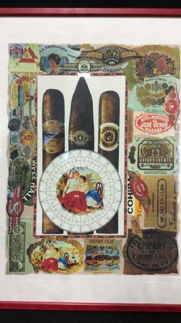 Poss Lithograph Of Cigar Theme Collage, Framed - 2
