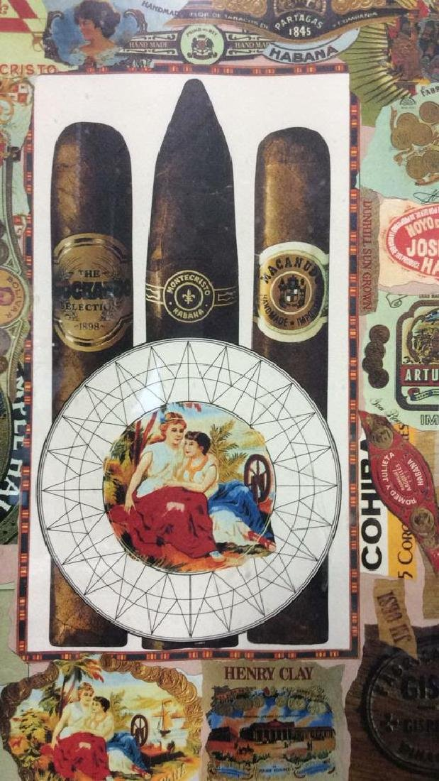 Poss Lithograph Of Cigar Theme Collage, Framed - 3