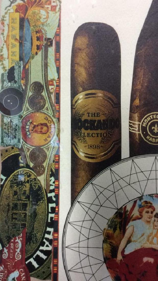 Poss Lithograph Of Cigar Theme Collage, Framed - 7