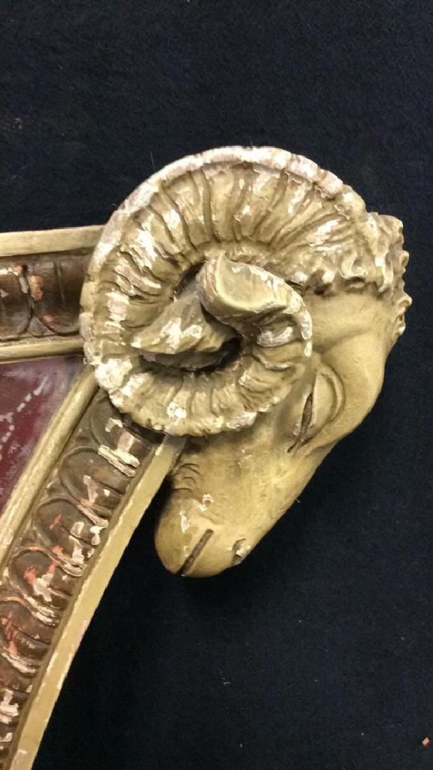 Painted Carved Wooden Rams Head Mirror - 6