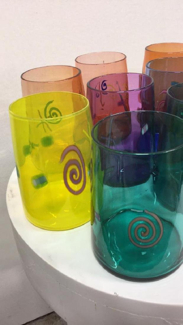 Set 10 Handcrafted Art Glass Drinking Glasses - 2