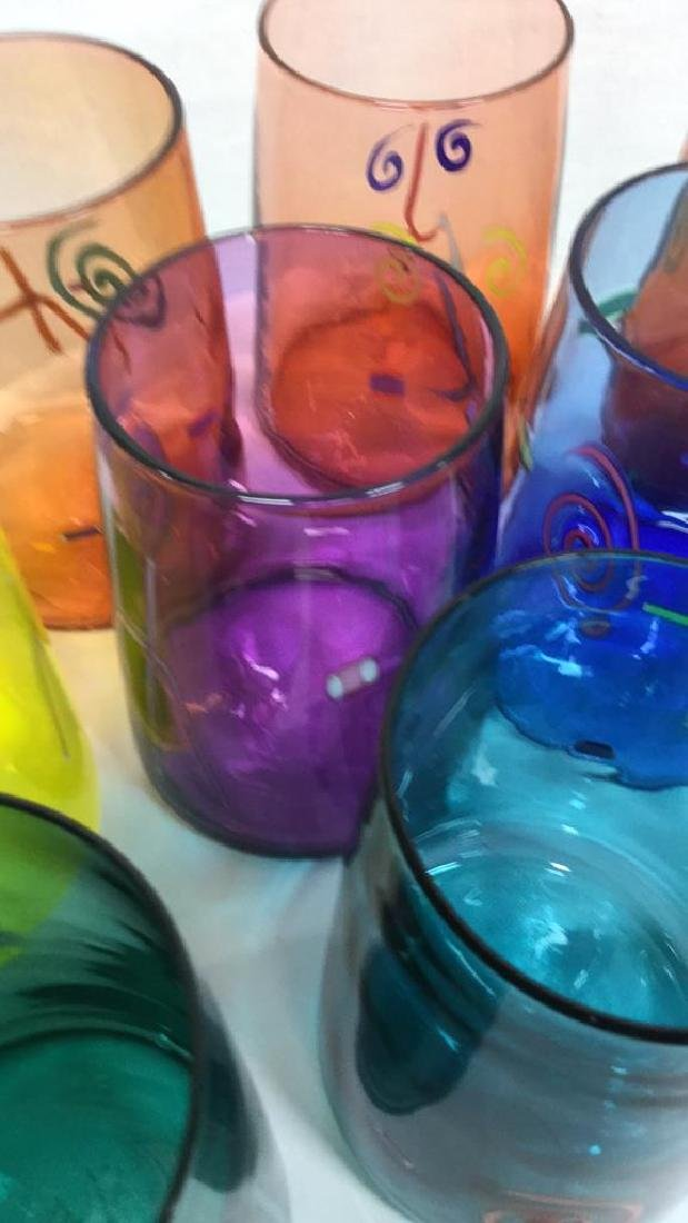 Set 10 Handcrafted Art Glass Drinking Glasses - 3