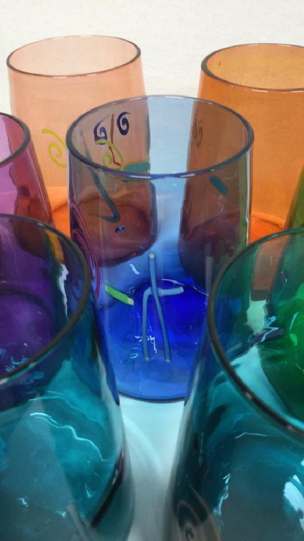 Set 10 Handcrafted Art Glass Drinking Glasses - 4