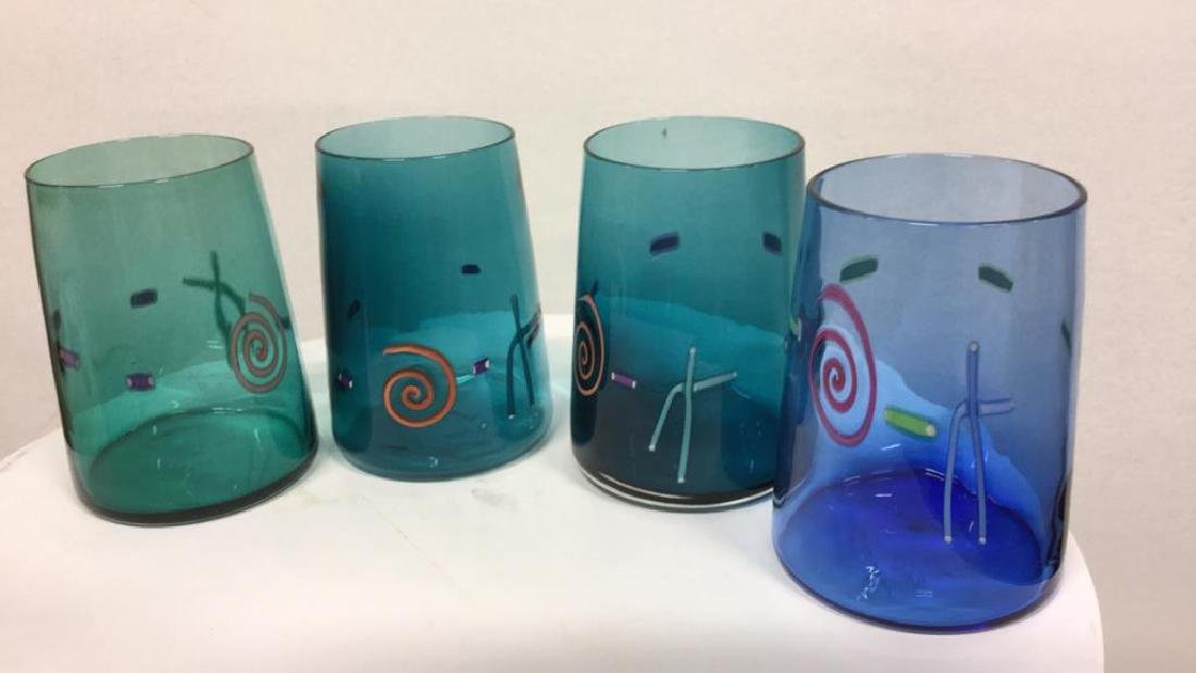 Set 10 Handcrafted Art Glass Drinking Glasses - 8