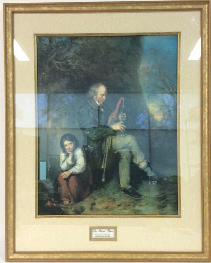 The Blind Piper by Joseph Haverty Print On Board