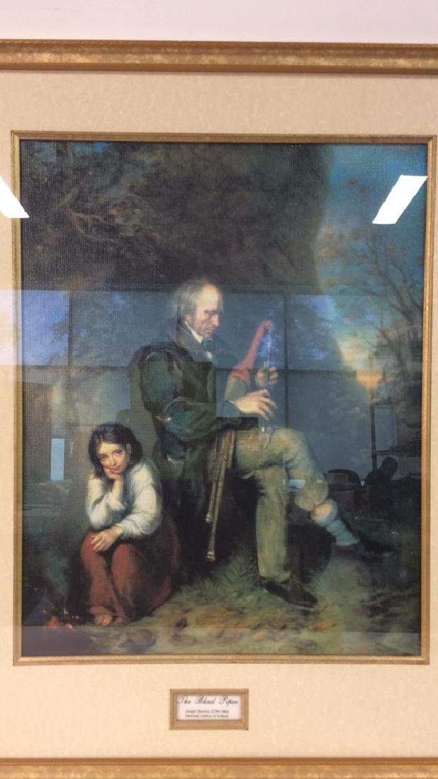 The Blind Piper by Joseph Haverty Print On Board - 2