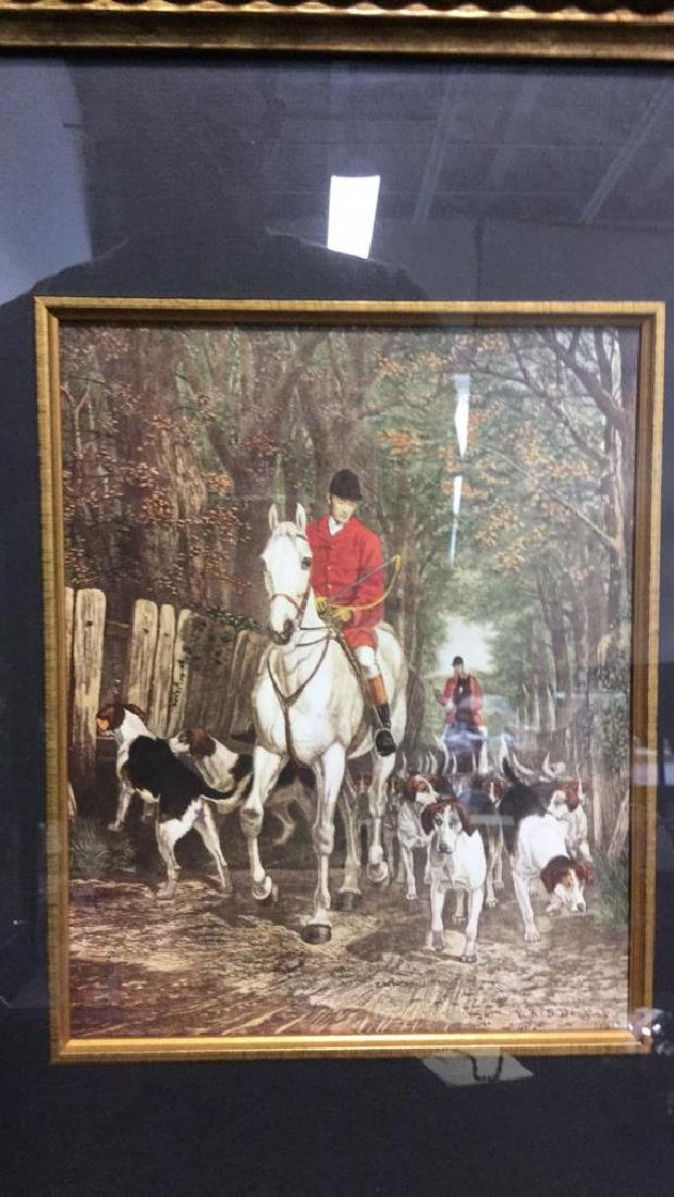 Lot 2 Hunt Scenes by E.A.S. Douglas Print On Board - 3