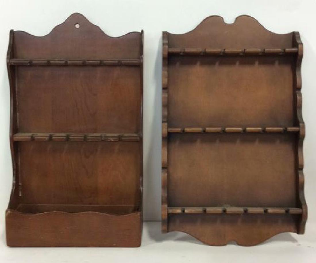 Pair Wood Wall Hanging Souvenir Spoon Racks