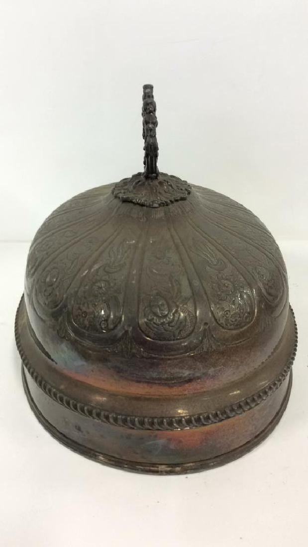 Victorian Antique Silver Plate Serving Dish Lid - 6