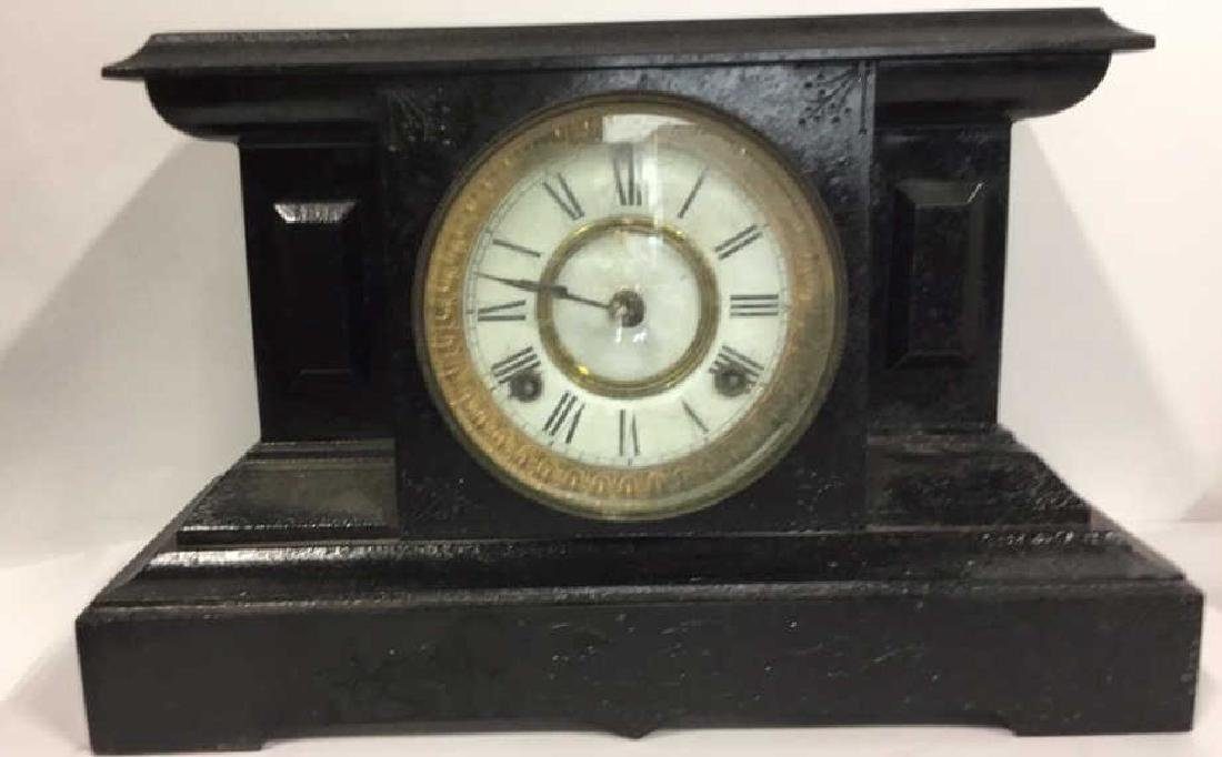 Black Toned Cast Iron Mantel Clock