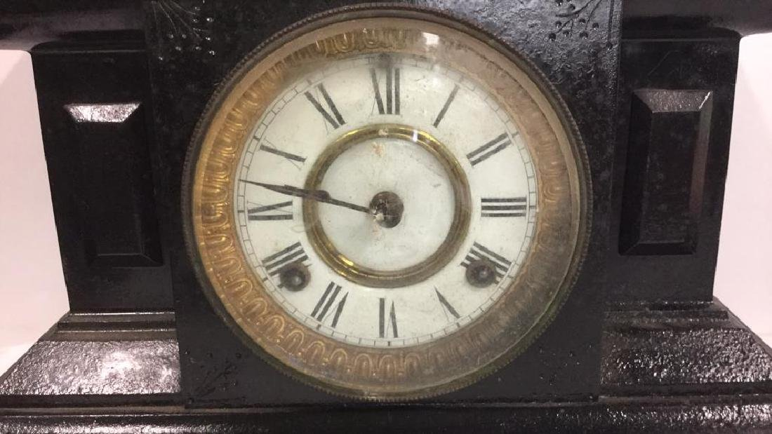 Black Toned Cast Iron Mantel Clock - 2
