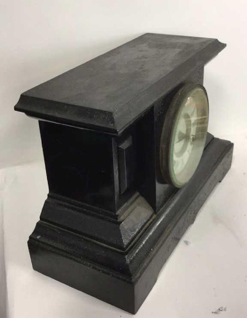 Black Toned Cast Iron Mantel Clock - 8