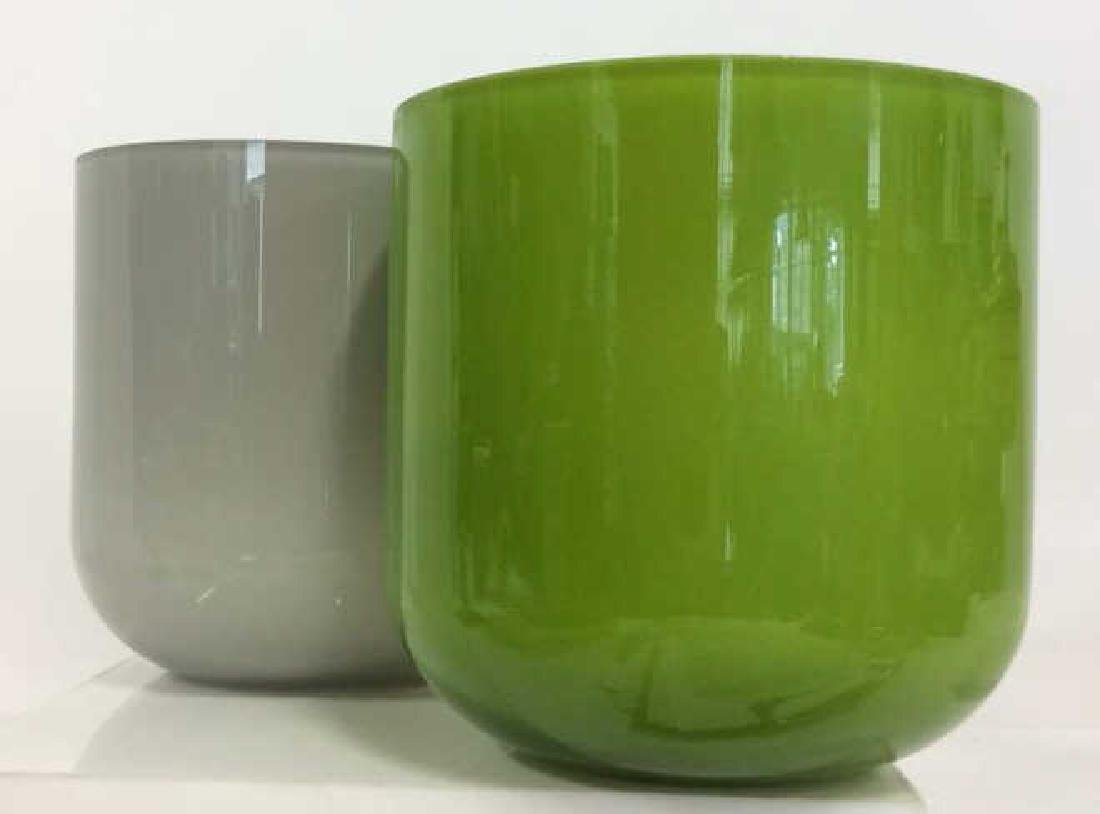 Pair Green and Gray Art Glass Vases