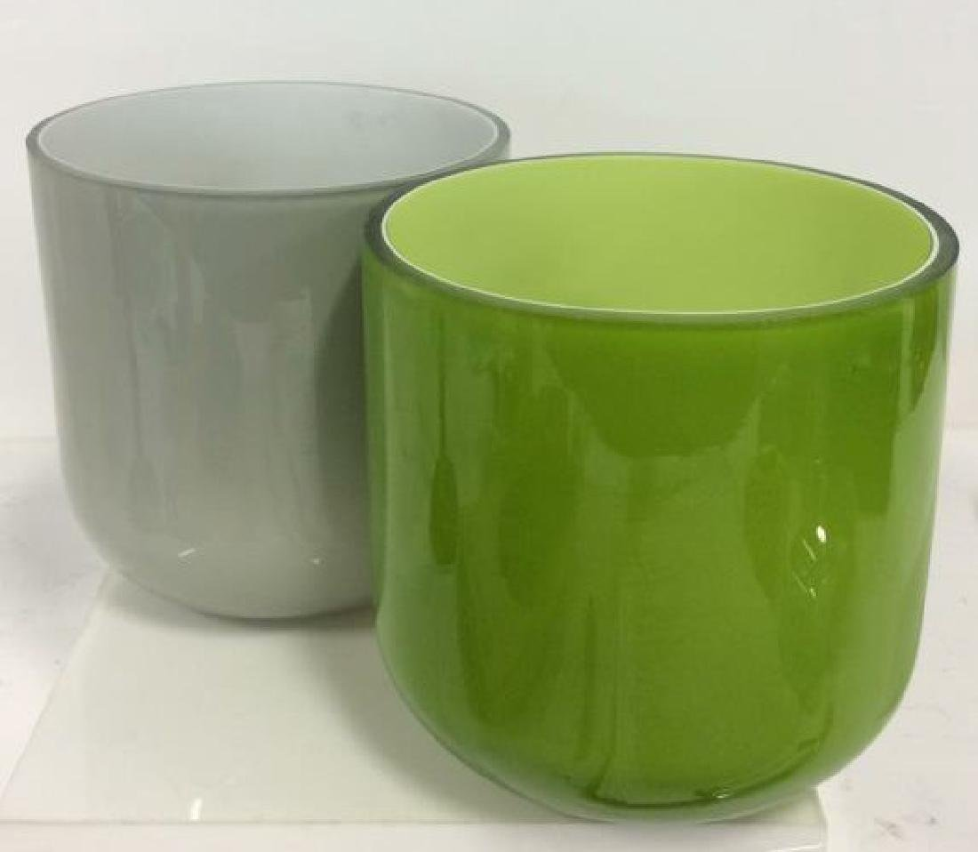 Pair Green and Gray Art Glass Vases - 2