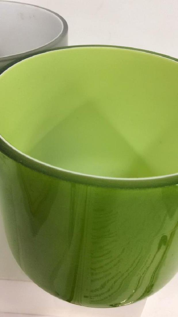 Pair Green and Gray Art Glass Vases - 3