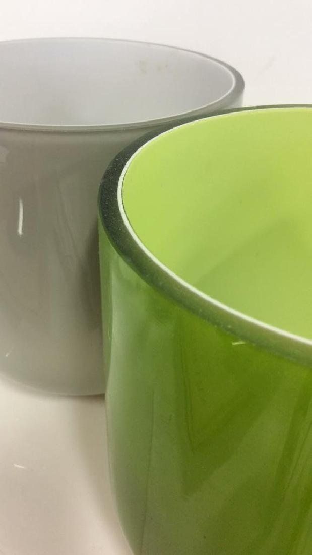 Pair Green and Gray Art Glass Vases - 4