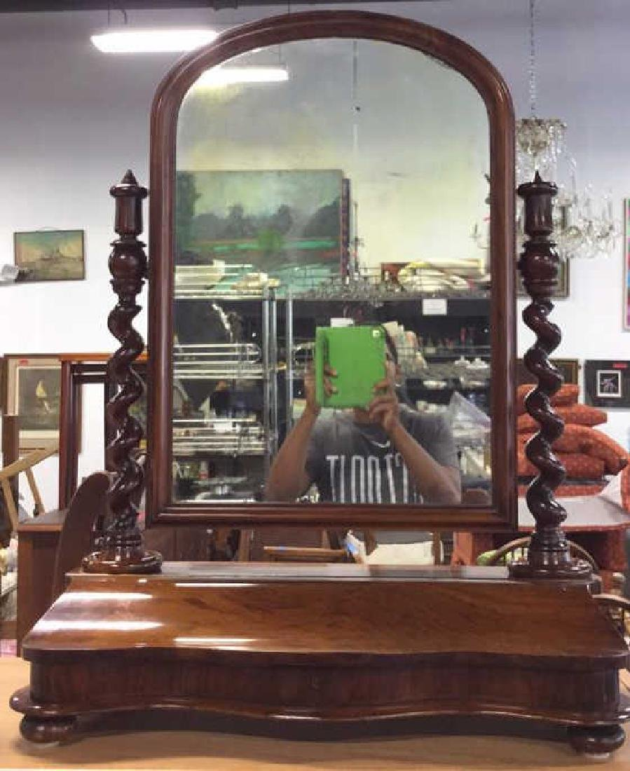 Carved Antique Rotatable Dresser Top Mirror
