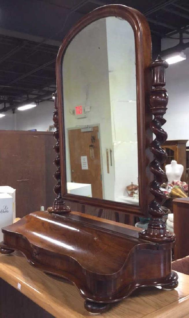Carved Antique Rotatable Dresser Top Mirror - 5