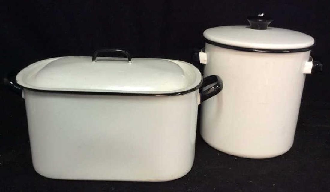 Set 2 Vintage Black White Enamelware Pots