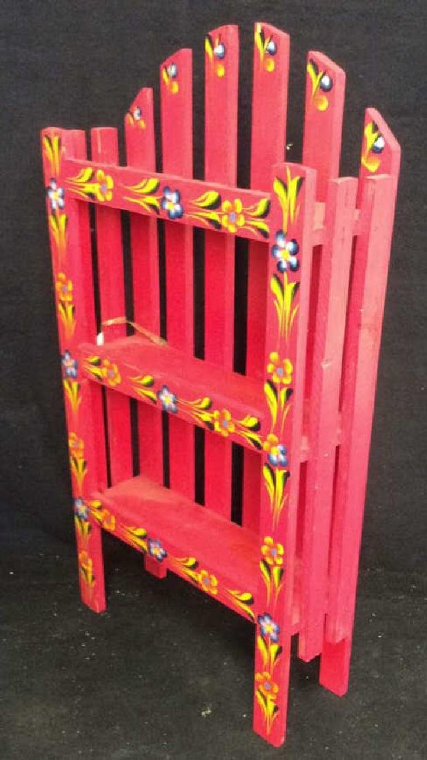 Pink Painted Cabinet What Not Shelf - 9