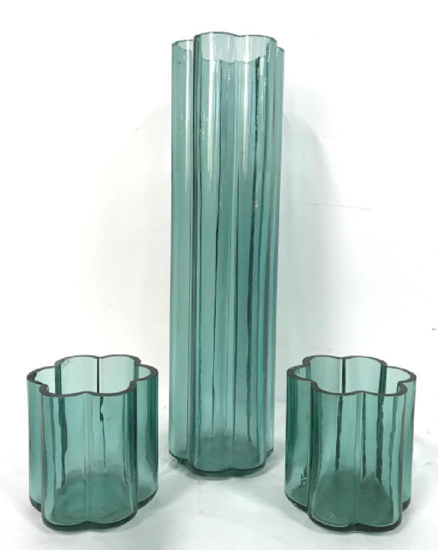 Set Of 3 Vintage Art Glass Vases