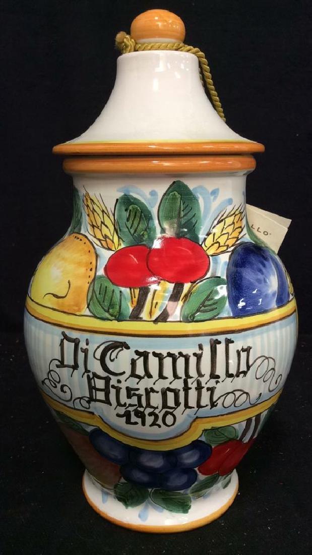ITALIAN DICAMILLO BISCOTTI Lidded Ceramic Jar