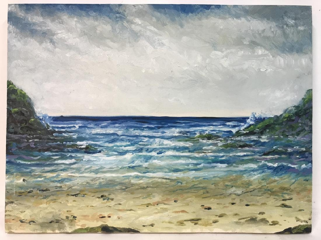 Painting Of Beach Scenery On Canvas