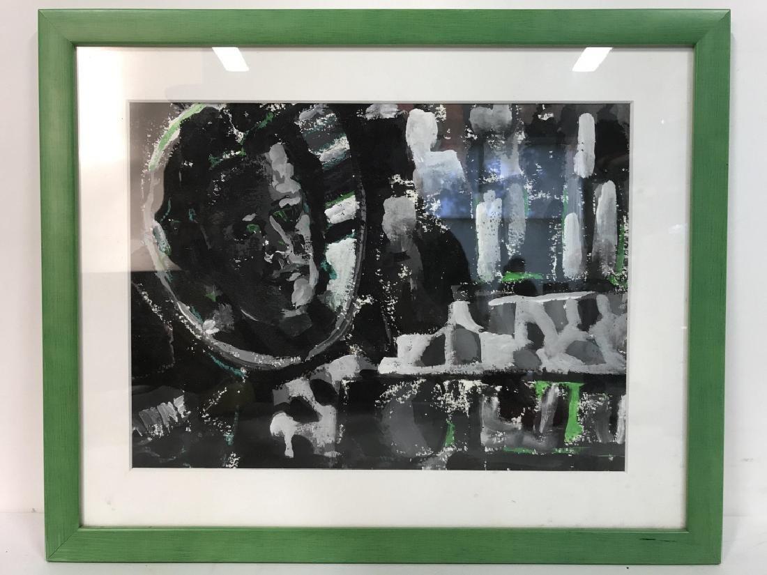 Framed & Matted Multi Toned Poss Collage Artwork