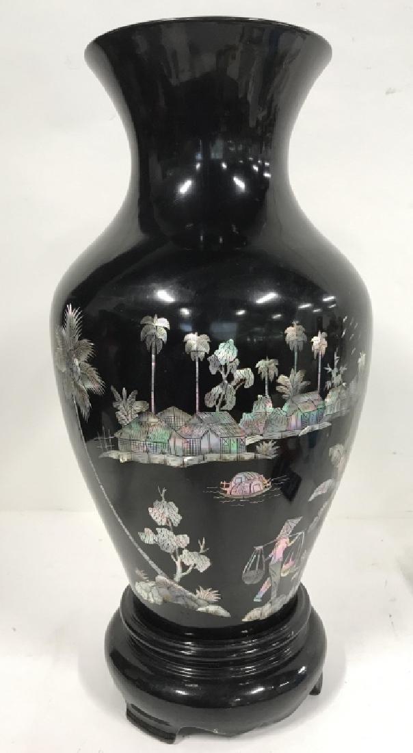 Black Toned Oriental Lacquerware Vase