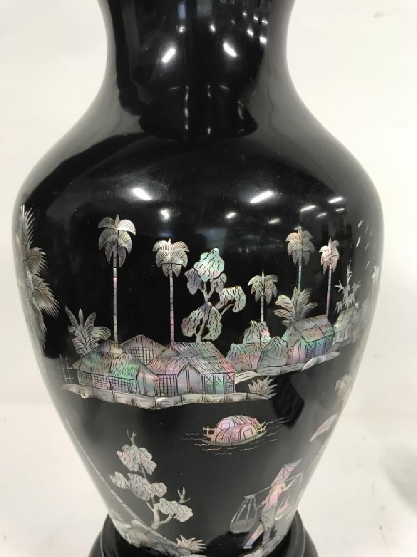 Black Toned Oriental Lacquerware Vase - 2