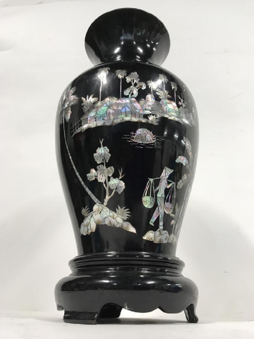 Black Toned Oriental Lacquerware Vase - 4