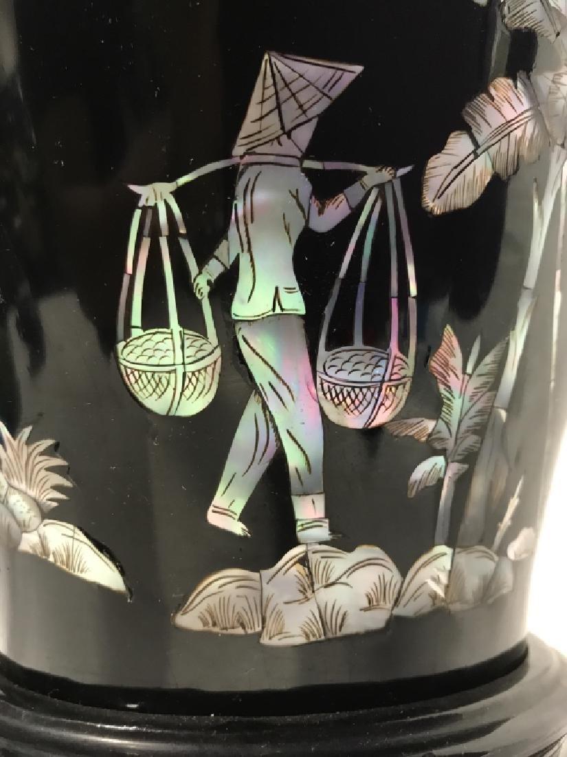 Black Toned Oriental Lacquerware Vase - 6