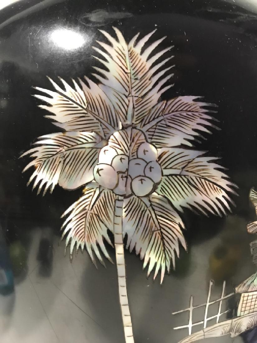 Black Toned Oriental Lacquerware Vase - 8