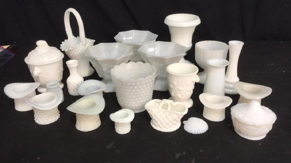 Over 20 Pieces Collectible Milk Glass Vessel