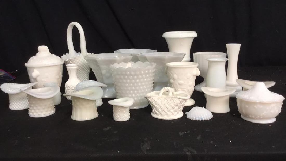 Over 20 Pieces Collectible Milk Glass Vessel - 2