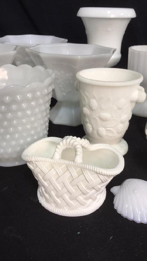 Over 20 Pieces Collectible Milk Glass Vessel - 6