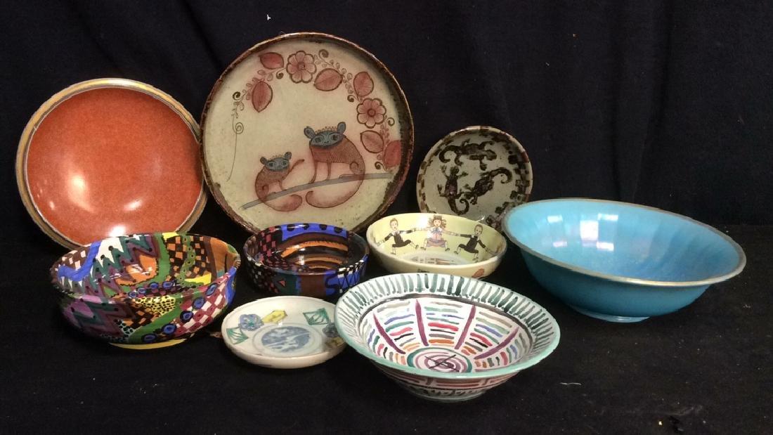 Vintage Signed Artisan Bowls Plates