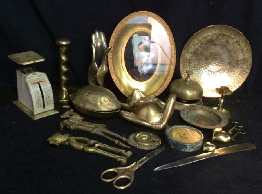 Group Collectible Brass Oddities and Desk Top