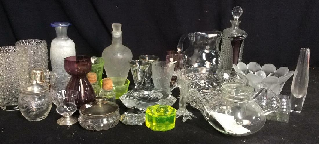 Group Lot 30 Vintage Glass and Crystal Tabletop