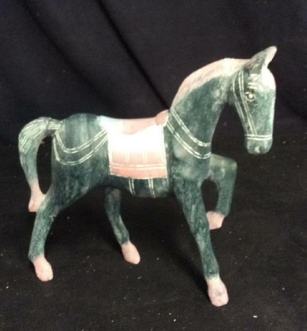 Hand Crafted Painted Wood Horse Figure - 2