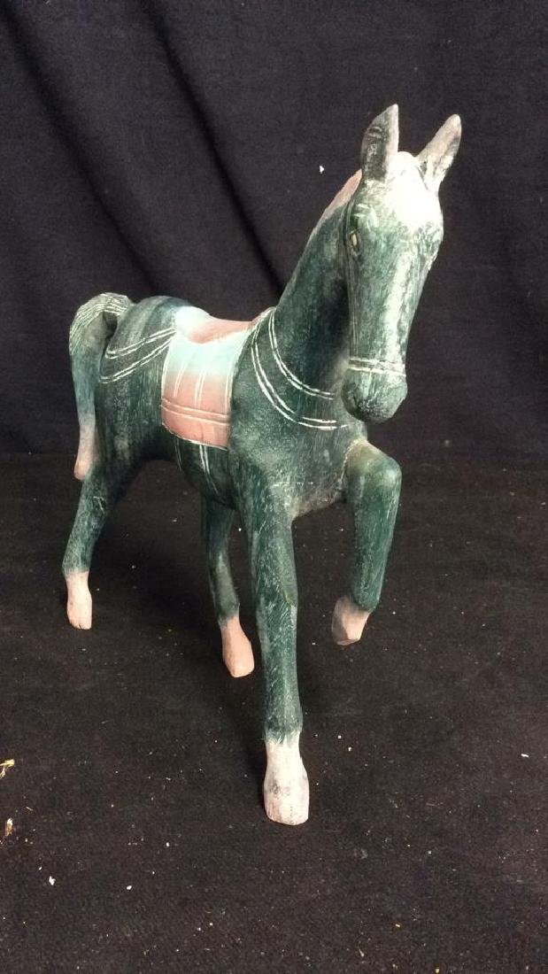 Hand Crafted Painted Wood Horse Figure - 4