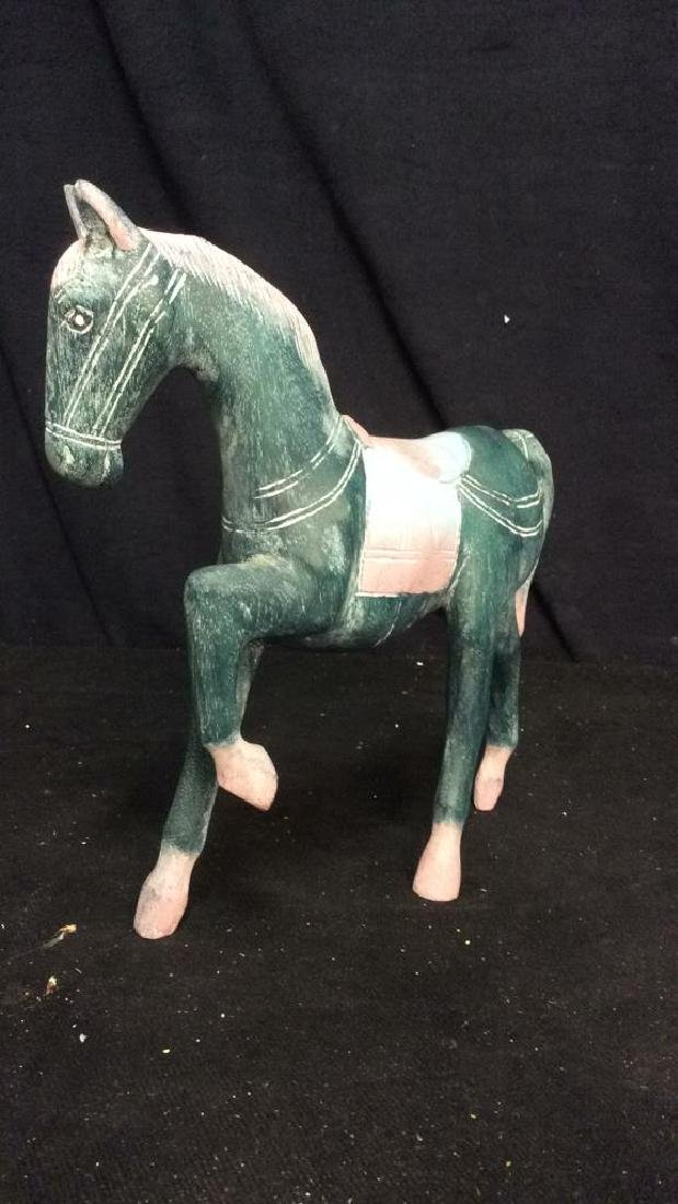 Hand Crafted Painted Wood Horse Figure - 5