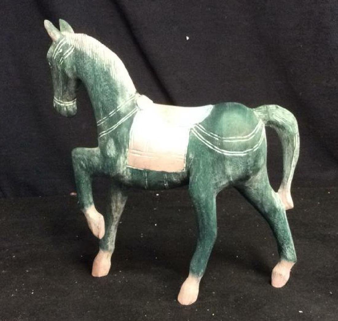 Hand Crafted Painted Wood Horse Figure - 6